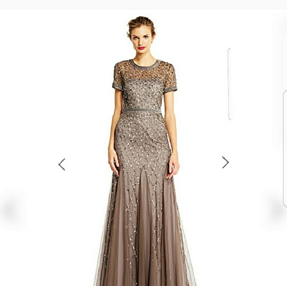 ffb7defcd3f Adrianna Papell Dresses   Skirts - Adrianna Papell Cap Sleeve Fully Beaded  Gown Women